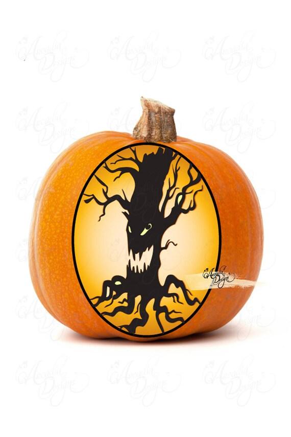 Printable Halloween Pumpkin Carving Pattern Stencil Pdf Scary Etsy
