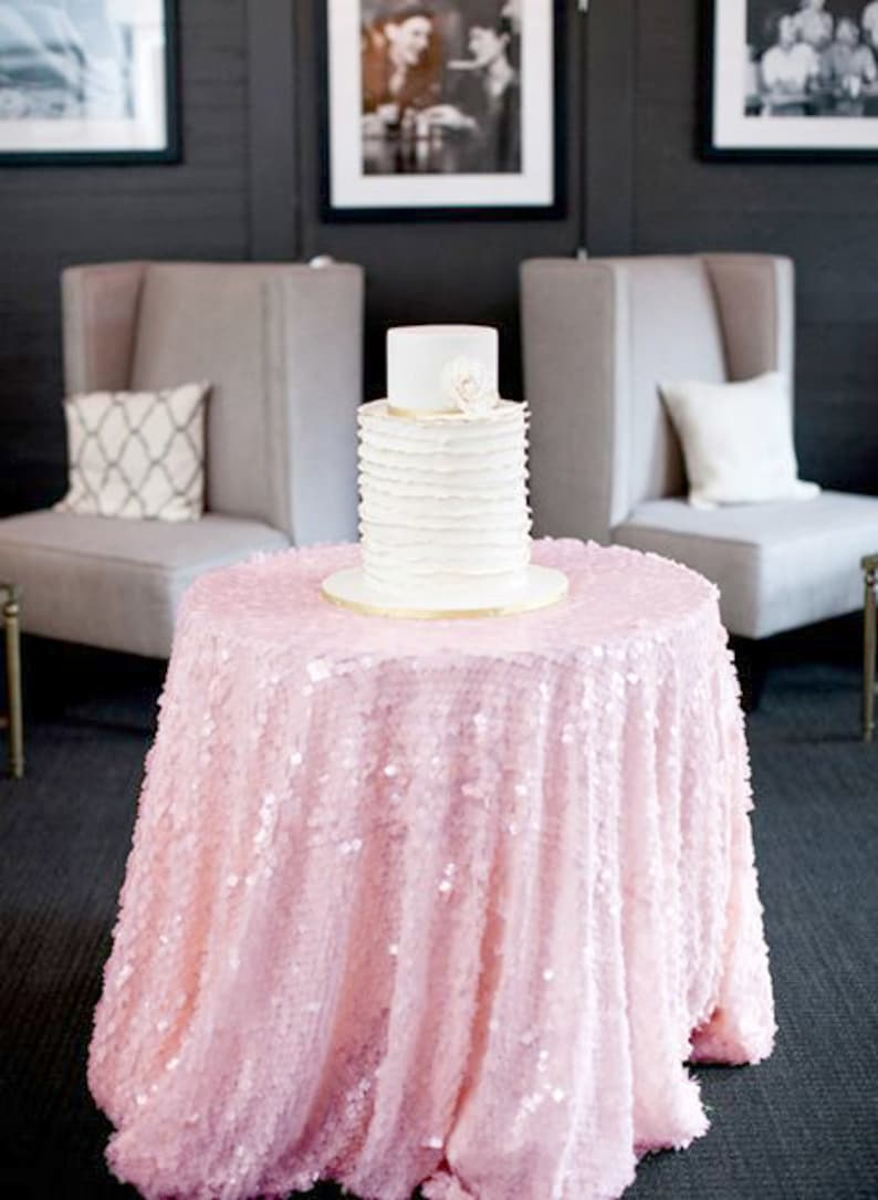 Pink Round Table.Baby Pink Sequin Tablecloth Made To Order Shiny Blush Light Pink Sequin Round Table Cloth For Girly Birthday Baby Shower Bridal Shower Party