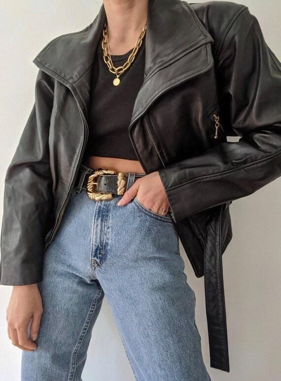 Beautiful Vintage Black Belted Leather Jacket