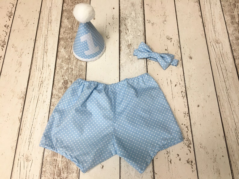 7ecdc4ae2 Boys Baby Blue Spot Cake Smash Outfit Bow Tie Pants and | Etsy