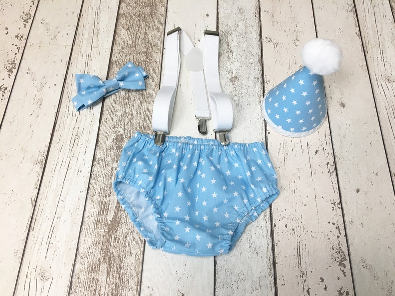 6b7ab9ebd Boys Baby Blue Small Star Cake Smash Outfit Bow Tie Pants | Etsy