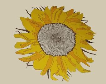 Vintage Sunflower Screen Print - UNUSED Fabric