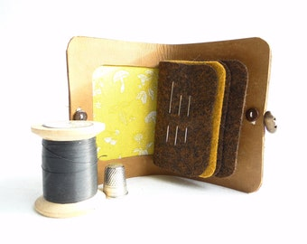 in tan leather with a dog fabric interior Needle Case sewing accessory gift Needle book