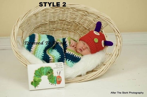 dd350c4e0 Baby Boy Girl Crochet Hungry Caterpillar Hat Cocoon Costume Set.  Photography Props
