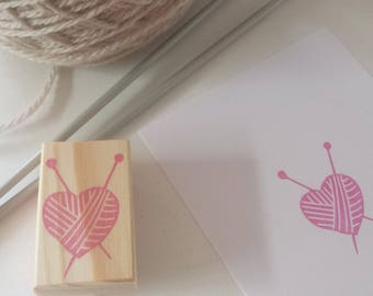 Stamp heart ball of yarn / Ball of wool heart rubber stamp set