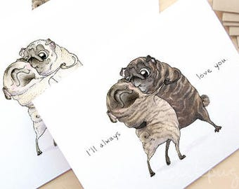Old Love pug card - funny Valentines card, happy anniversary card for husband, wife; fawn, brindle pug love card, I Love You Card by Inkpug
