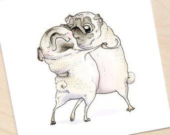 Old Love Pug Art Print - Pug Love Artwork, Square Art Print, Love Print, Cute Art Print, Wedding or Valentines Decor by Inkpug