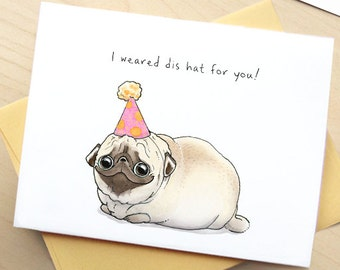 Cute Pug Birthday Card