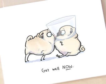 helping hand cute pug get well card funny get well soon etsy