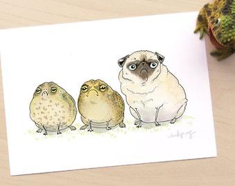 Glum Chums Toads & Pug Art Print - Toad Print, Pug Print, Funny Pug Wall Art, Pug Illustration, Dog Art, Toad Art by Inkpug