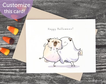 ghost pug hugs cute halloween card pug halloween card halloween anniversary card or love card ghostess with the mostest pug by inkpug