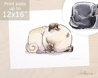 Pug Nap art print - cute pug art, pug bed print, pug bedroom art, two pugs decor print set with fawn pug and black pugs by Inkpug