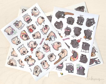 Pugmojis pug stickers - fawn and black pug sticker sheets, fawn and black pug planner stickers, cute black pugs by Inkpug