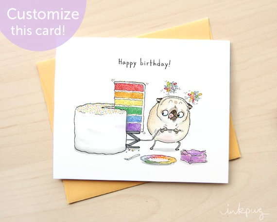 Rainbow Cake Cute Pug Birthday Card Personalized Funny