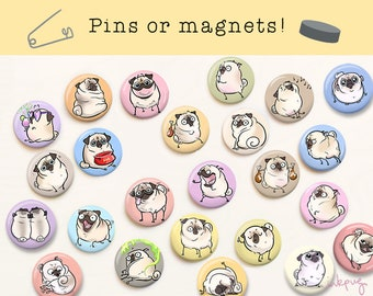 Pugmojis FAWN pug pins and magnets - cute pugs magnets, fawn pug gifts, pug accessories, pinback buttons and fridge magnet sets by Inkpug