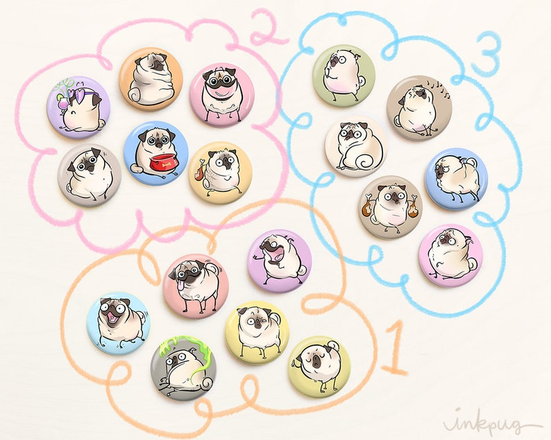 pinback buttons and fridge magnet sets by Inkpug pug accessories Pugmojis FAWN pug pins and magnets fawn pug gifts cute pugs magnets