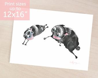 The Chase black pug art print - two black pugs, pug puppy, pug art, black pug decor or wall art, watercolor black pug painting by Inkpug