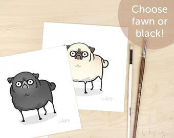 Angry Pug art print - funny art print, funny pug gift, black pug drawing, doodle, pug decor by Inkpug