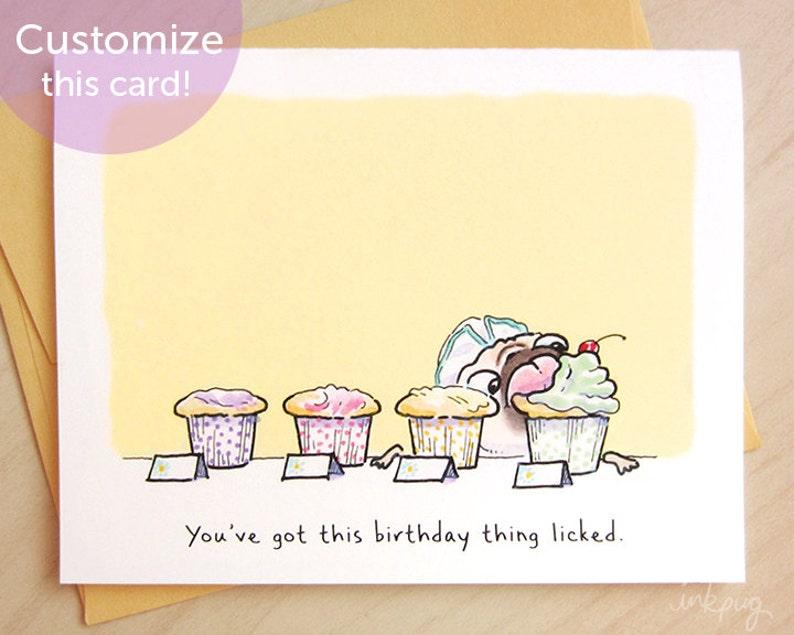 Tiptons Cupcakes Pug Birthday Card Funny