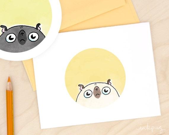 Guten Morgen Pugshine Lustige Mops Karte Süße Mops Briefpapier Lustige Karte Jede Gelegenheit Karte Hund Karte Schwarze Mops Doodle Kunst Karte