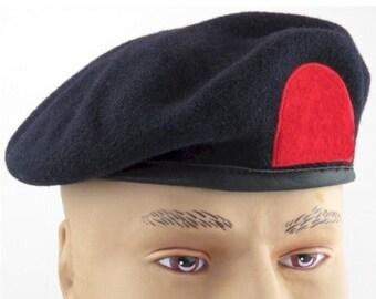 70ece4645c525 Vintage beret British Royal Marines training troops black red cap military  hat UK United Kingdom