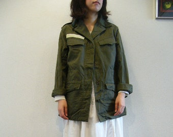Vintage Women s French Air Force 1950s M47 olive khaki jacket coat surplus  army military retro urban ladies a11bbf83a