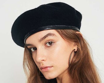 c50c182943194 Vintage French army black beret cap military hat army armee francaise