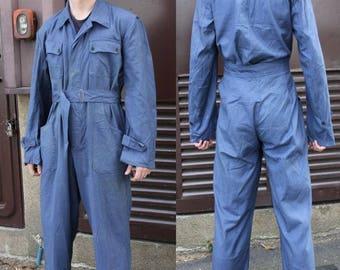 Defected Vintage Bulgarian army denim boiler suit coverall combi military overalls coveralls Communist Soviet Era