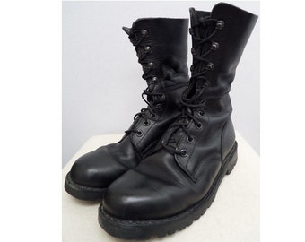 4a9c7052f3b4 Austrian army boots Black leather paratrooper para shoes combat assault  military mountain large