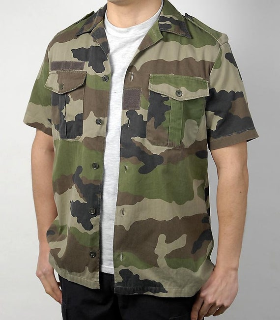FRENCH ARMY MILITARY ISSUED SHORT SLEEVED CAMOUFLAGE CAMO SHIRT