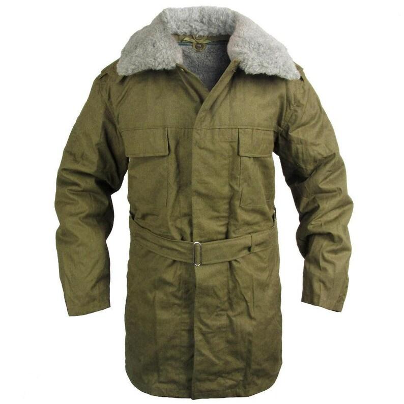 476a19142 New Unissued Czech army cold war parka communist soviet era coat jacket  overcoat military winter fur collar inner lining Czechoslovakian