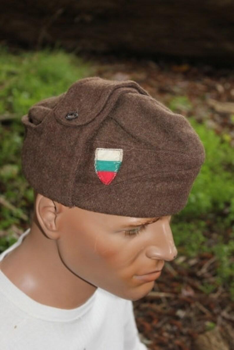 b6e31d7648a1b Vintage Soviet Era Bulgarian military wool pilotka cap hat