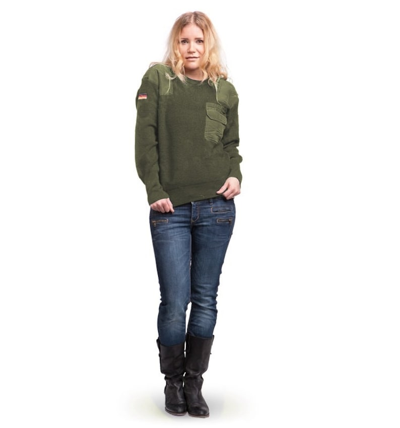 Surplus Austrian Army Olive Wool Blend Sweater Jumper Pullover Sweatshirt Military Khaki