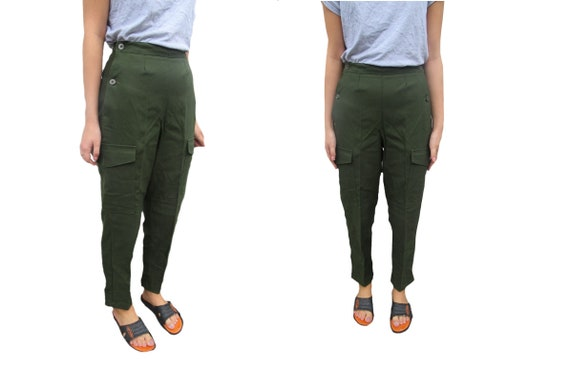 exquisite design select for best utterly stylish Vintage Swedish army M59 trousers green khaki pants military high waisted  olive cargo combat womens button waist