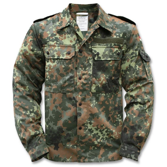 1990/'s AUTHENTIC MILITARY STYLE Vintage German Army Flecktarn Camo Hooded Jacket