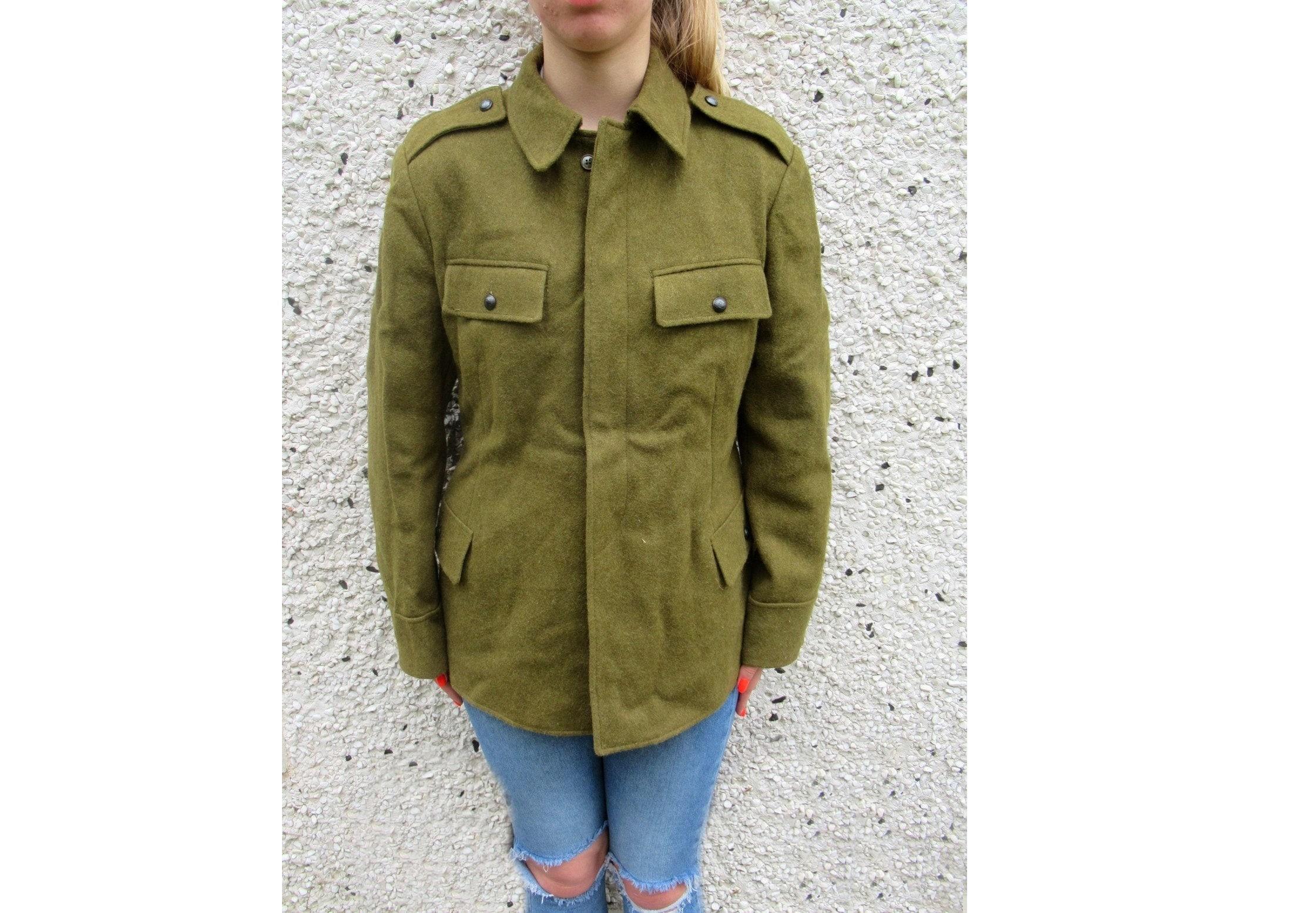 beee1c8195 Vintage Soviet Era Romanian Women's wool military jeep jacket blazer coat  army retro uniform communist