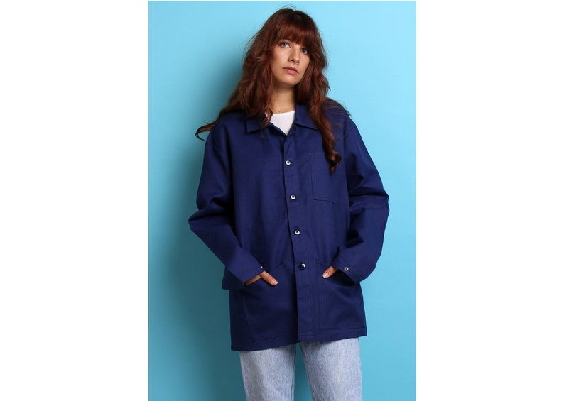 4e5c26c8d3dfa New Vintage French army work wear jacket oversized blue denim coat surplus  army military utility retro urban