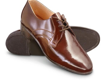 New Unissued Czech army dress shoes parade mess brown military type 1 thick band