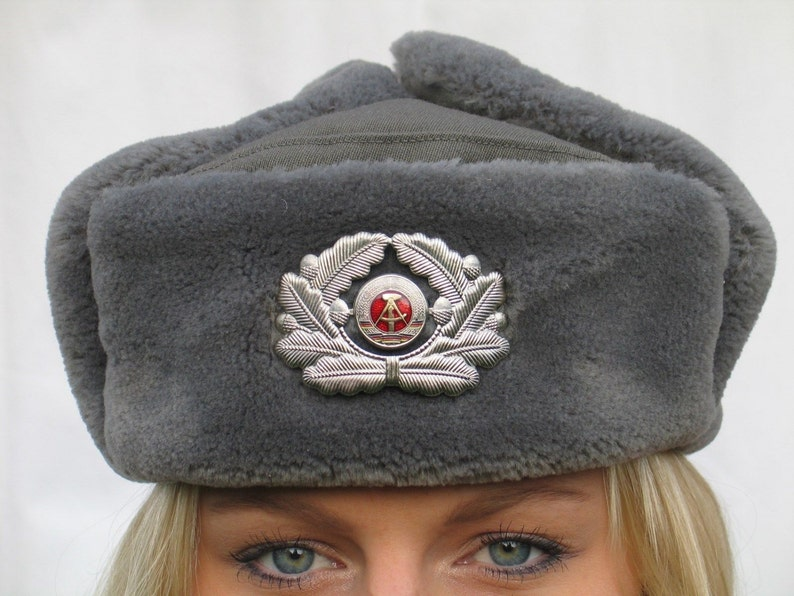 35c0de07f32d4 Vintage East German army grey fur lined winter hat cap