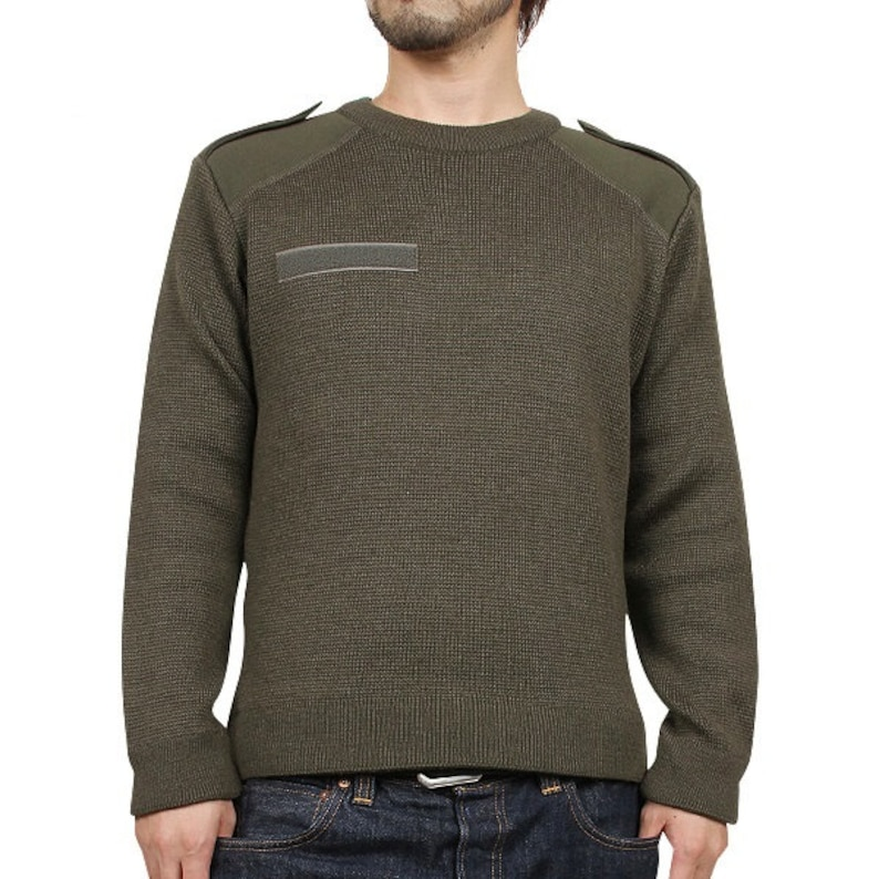 Austrian Army Olive Wool Blend Sweater Jumper Pullover Sweatshirt Military Khaki Sweaters