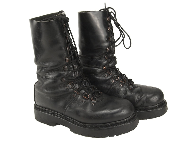 a9ce315e0d4 Austrian army Edelweiss Mountain boots Black leather paratrooper para shoes  combat assault military half lined
