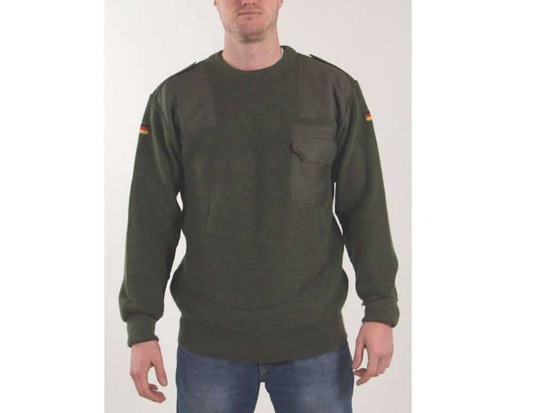 Austrian Army Olive Wool Blend Sweater Jumper Pullover Sweatshirt Military Khaki Clothing, Shoes & Accessories