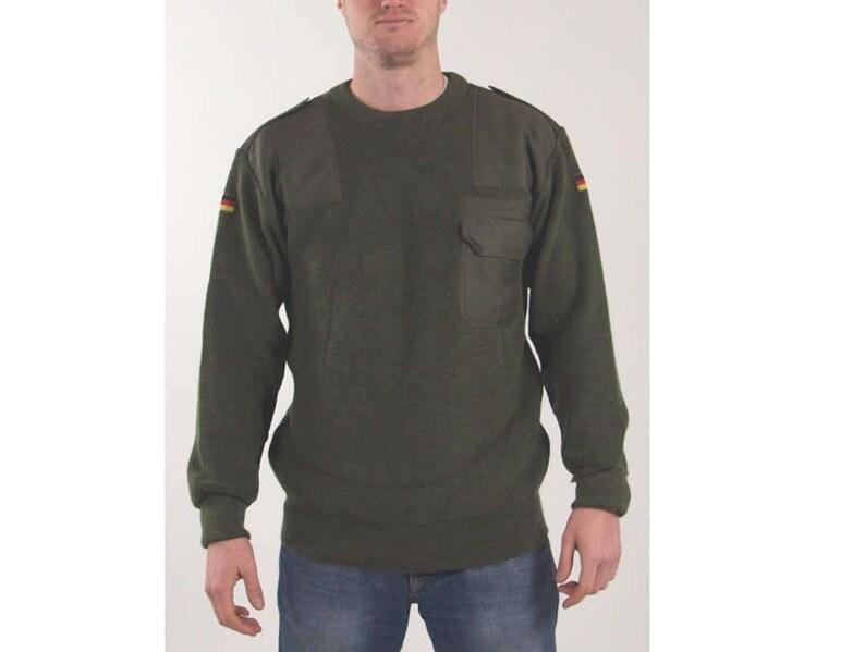Austrian Army Olive Wool Blend Sweater Jumper Pullover Sweatshirt Military Khaki Uniforms & Bdus Militaria