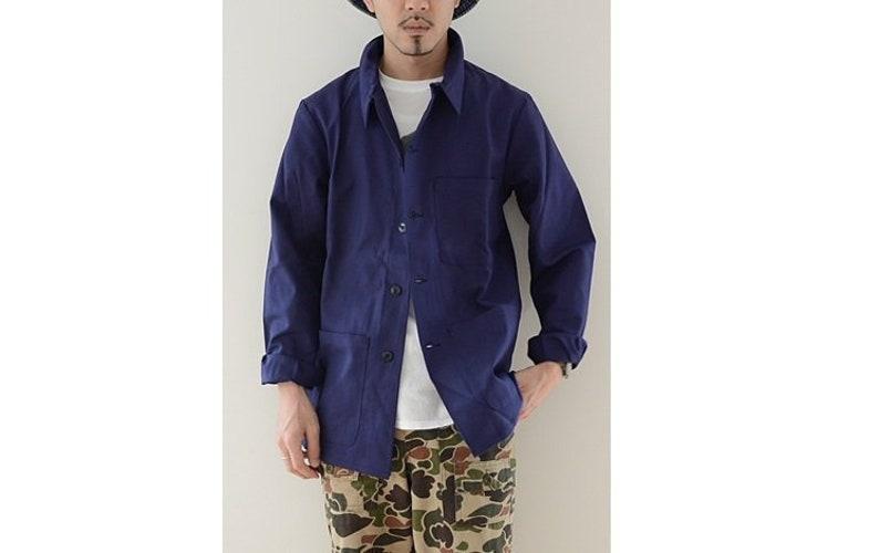 a368ac58f7611 New Vintage French army work wear jacket blue denim coat surplus army  military utility retro urban