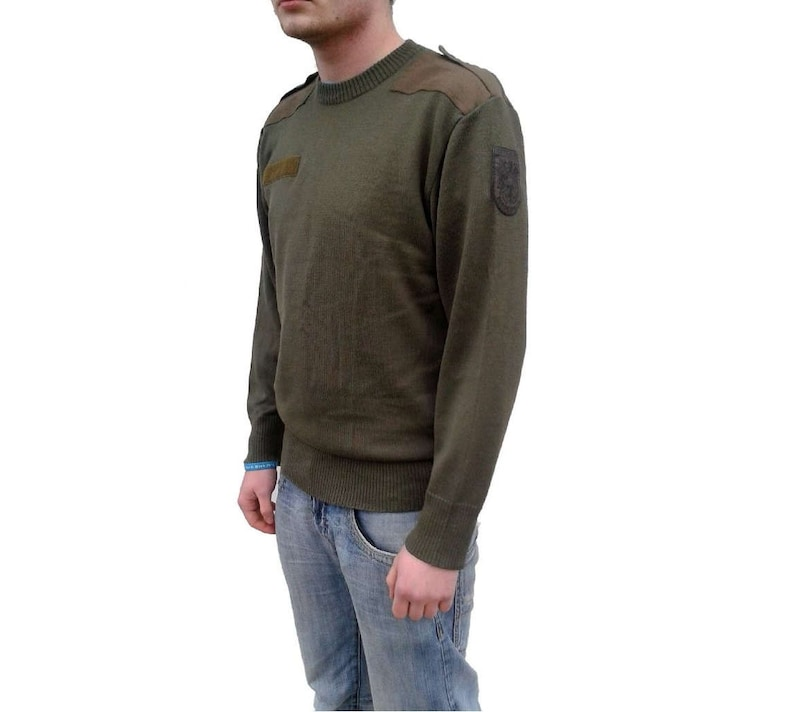 Men's Clothing Austrian Army Olive Wool Blend Sweater Jumper Pullover Sweatshirt Military Khaki