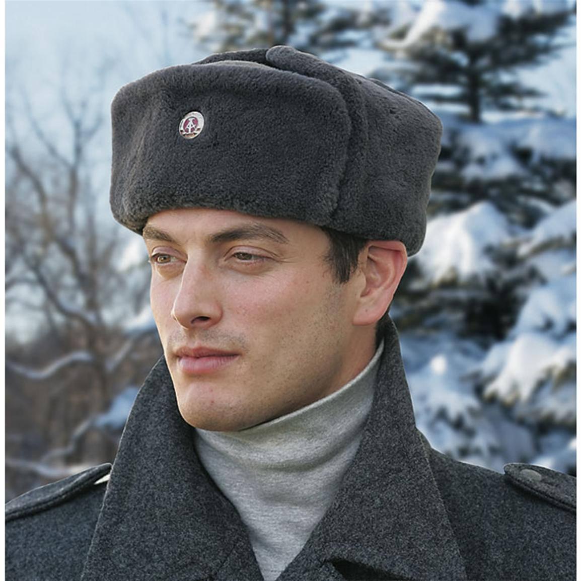 b212fffde Vintage East German army grey fur lined winter hat cap military Communist  NVA DDR GDR Soviet Era soldier