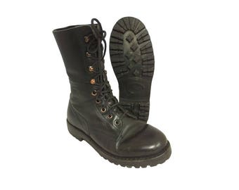 1980s Austrian army lightweight boots Black leather paratrooper para shoes combat assault military summer
