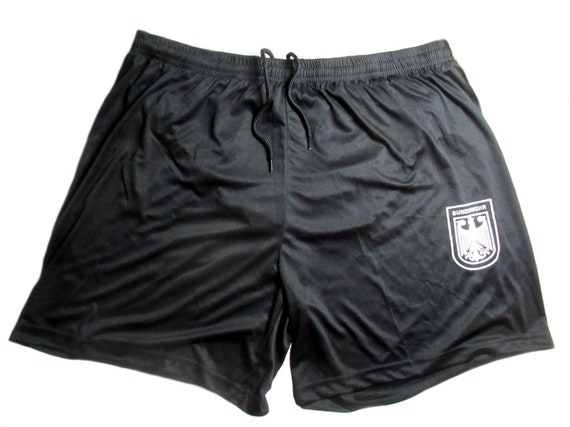 Vintage German Army Black Gym shorts 1990s military sports athletics BW eagle