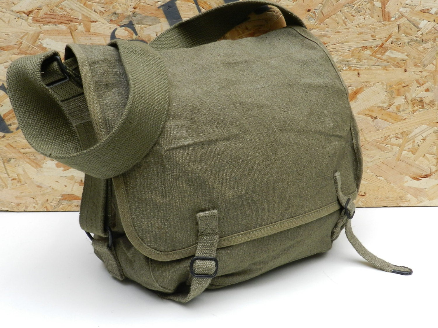 Vintage 1950s French army satchel new messenger bag ruck sack  71888ecf4e6