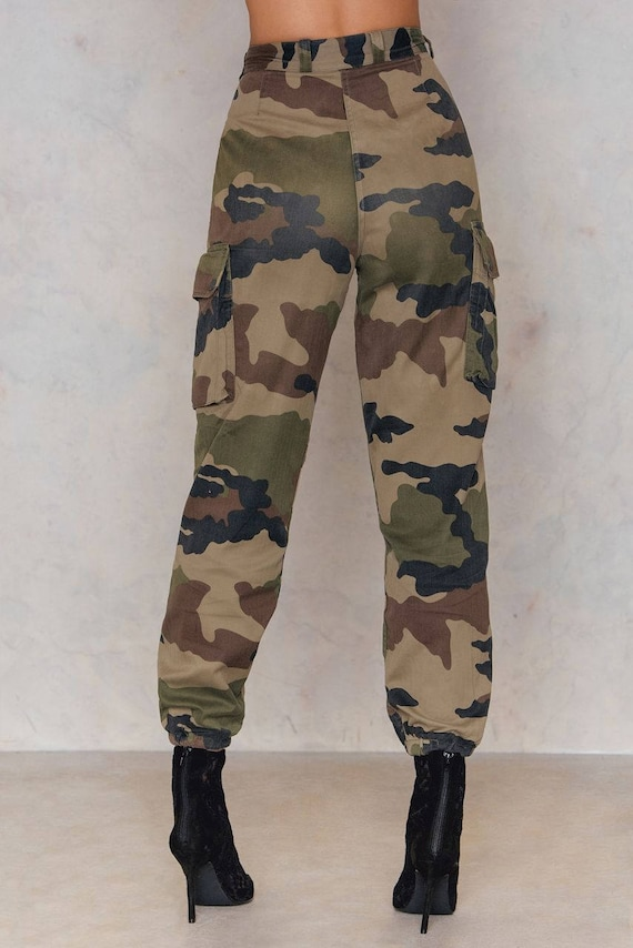 search for clearance fashion style of 2019 online for sale Vintage 1980s Women's French army camo trousers pants military camouflage  cargo combat